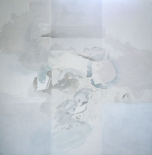 "The Swim, 72"" x 72"" ""wash drawing"" on canvas"